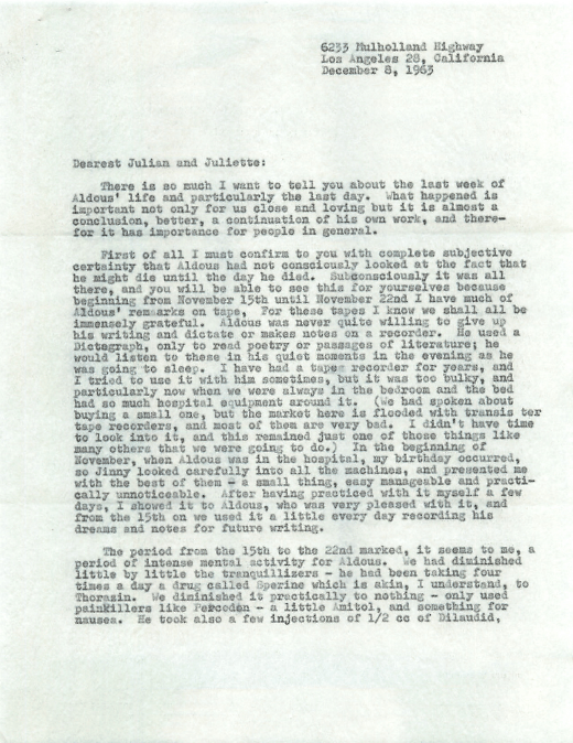 Laura Huxley letter to Julian Huxley, via Letters of Note.
