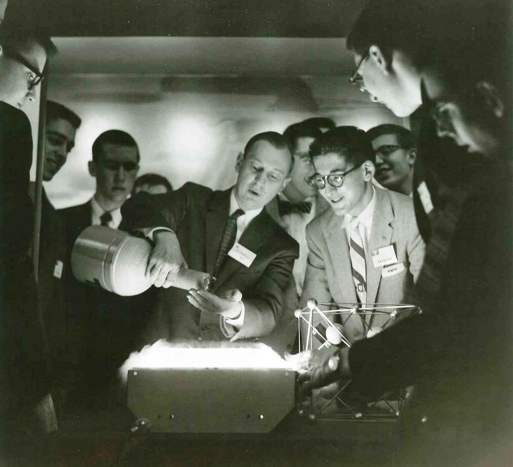 STS 1957 Finalists gather for a demonstration by a Westinghouse Scientist. Via Society for Science and the Public Flickr page.