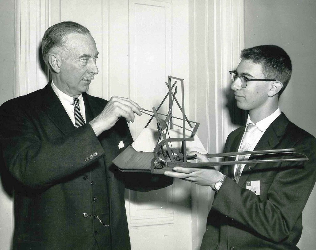 Dr. Leonard Carmichael of the Smithsonian Institute and STS 1957 Finalist David Adams. Via Society for Science and the Public on Flickr.